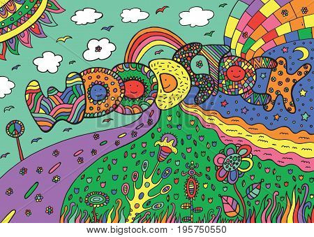 Graphic image with woodstock word. Graphic colorful doodle ilustration for adult coloring book design and tshirt.