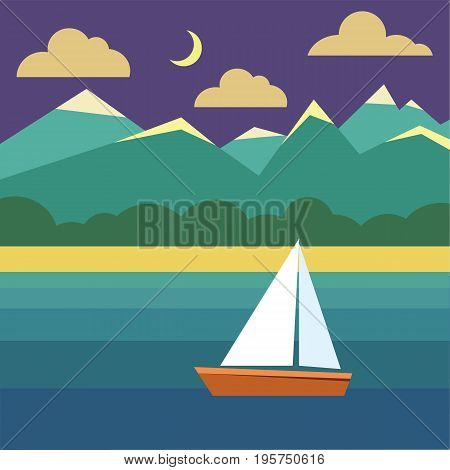 Boat on water. Night landscape with ship ocean sky moon exotic island with mountains and clouds. Vector flat illustration with nature and boating in tropical sea.