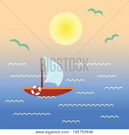 Boat on sunset water. Landscape with ship ocean sky sun. Vector flat illustration with nature and boating in tropical sea.
