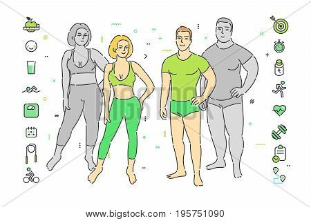 Concept of healthy lifestyle and losing weight. Fitness girl and man in flat design, vector illustration.
