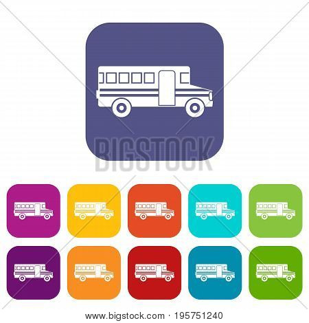 School bus icons set vector illustration in flat style In colors red, blue, green and other