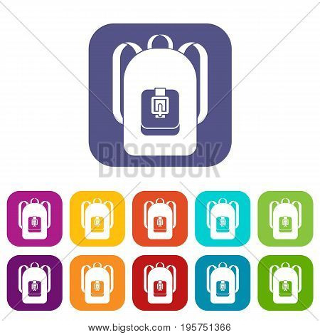 Backpack icons set vector illustration in flat style In colors red, blue, green and other