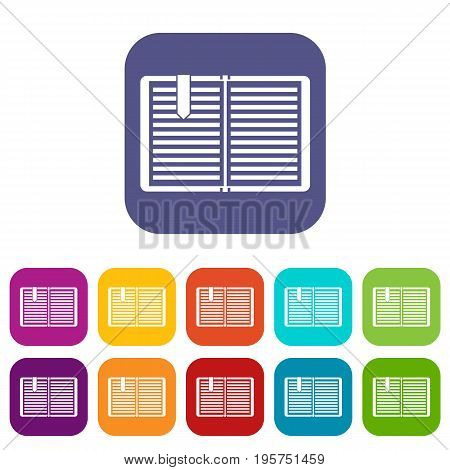 Open book with red bookmark icons set vector illustration in flat style In colors red, blue, green and other