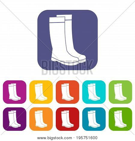 Rubber boots icons set vector illustration in flat style In colors red, blue, green and other