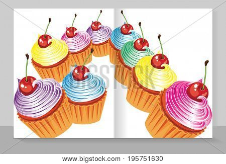 Cover copybook with a cupcakes.
