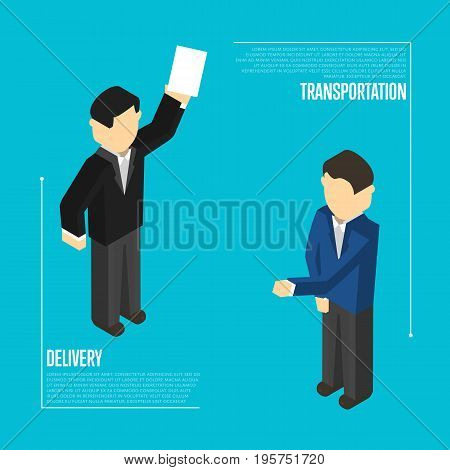 Delivery transportation isometric isolated vector illustration. Delivery managers discussing, warehouse workers. Freight delivery and distribution, cargo transportation, logistics management concept