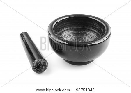Marble mortar and pestle isolated on white background close-up
