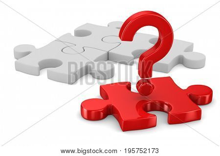 Puzzle on white background. Isolated 3D illustration