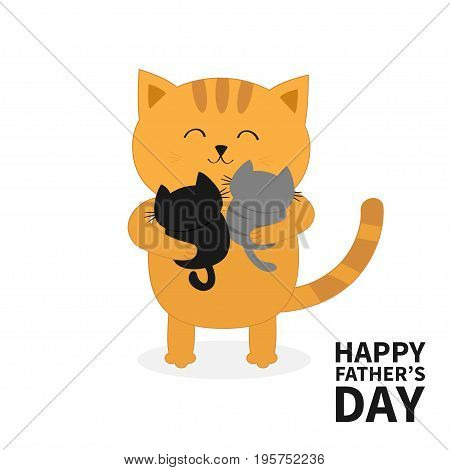 Cat hugging two little baby kitten. Happy Fathers day. Kittens on hands. Kitty hug. Funny Kawaii animal family. Cute cartoon pet character set. Flat design White background Isolated. Vector
