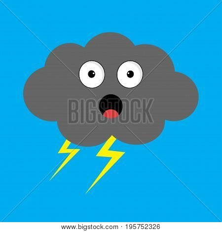 Cute cartoon kawaii cloud with rain drops. Sad face emotion. Eyes and mouth. Isolated. Blue sky background. Baby character collection. Funny illustration. Flat design. Vector illustration
