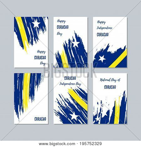 Curacao Patriotic Cards For National Day. Expressive Brush Stroke In National Flag Colors On White C