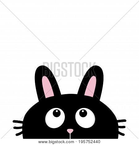 Black rabbit bunny face head silhouette with long ears looking up. Cute cartoon funny character. Kawaii animal. Baby card. Sticker print template. Flat design. White background. Isolated. Vector