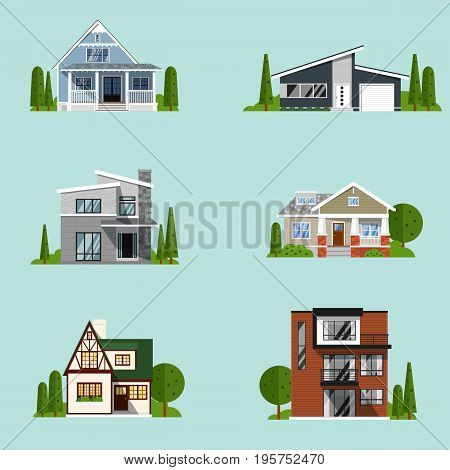 Real estate set with sale houses vector illustration. Family dream home set. Vacation houses in rural area. Advertising design elements. Real estate business concept. Facade apartment house, cottage.
