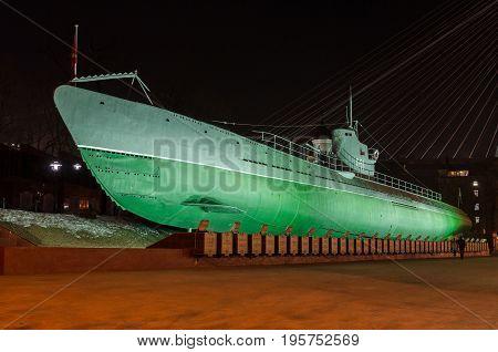 VLADIVOSTOK, RUSSIA - February 03, 2012: Memorial Submarine Museum S-56 in Vladivostok, Primorsky Krai in Russia.
