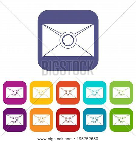 Envelope with red wax seal icons set vector illustration in flat style In colors red, blue, green and other