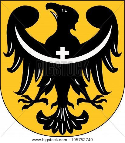 Coat of arms of Lower Silesian Voivodeship or Lower Silesia Province in Poland. Vector illustration from Giovanni Santi-Mazzini Heraldic 2003