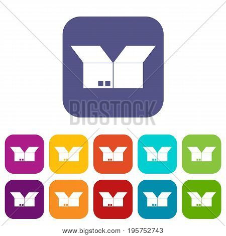 Opened cardboard box icons set vector illustration in flat style In colors red, blue, green and other