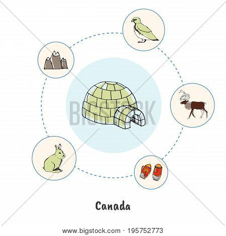 Attractive Canada. Ice igloo colorized doodle surrounded reindeer, rock ptarmigan, hare, mountain, winter mittens hand drawn vector icons. Canadian nature, culture symbols. Travel in North America