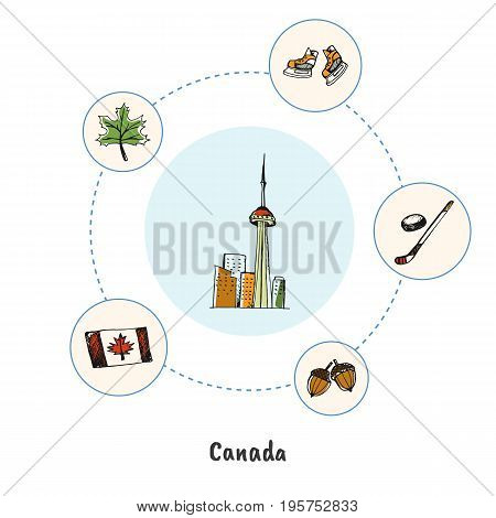 Attractive Canada. Toronto CN tower doodle surrounded hockey stick, skates, maple leaf, flag, acorns hand drawn vector icons. Canadian architectural, sports, nature symbols. Travel in North America