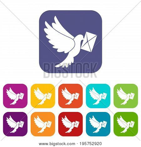Dove carrying envelope icons set vector illustration in flat style In colors red, blue, green and other