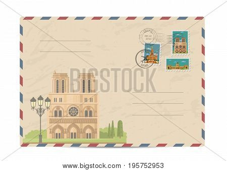 Notre Dame de Paris cathedral, France. Postal envelope with famous architectural composition, postage stamps and postmarks on white background vector illustration. Postal services. Envelope delivery
