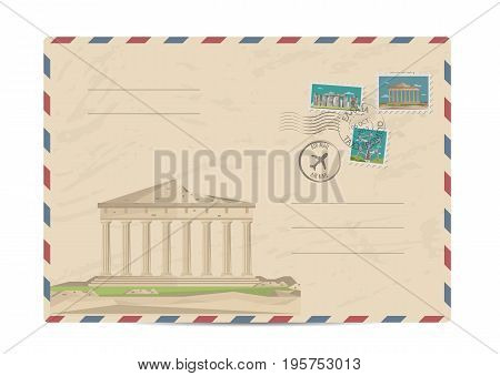 Parthenon temple on Acropolis, Athens, Greece. Ancient antique amphitheater. Postal envelope with famous architectural composition, postage stamps and postmarks vector illustration. Postal services
