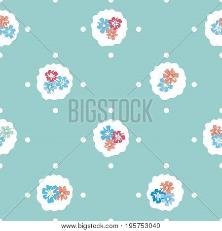 Seamless vintage pattern with flowers and polka dots on a light turquoise background. Country style millefleurs. Delicate airy texture for textiles, interiors, packaging, print, web design.