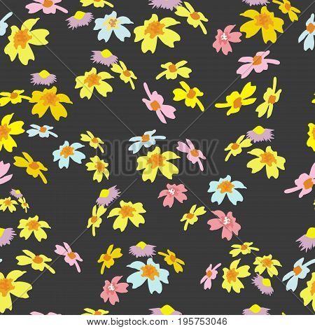 Seamless pattern with abstract flowers on black background. Floral pattern on a dark saturated background for interior, tiles, print, covers, textiles and various types of design. vector.