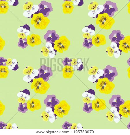 Seamless floral pattern with pansies on a gentle green background. Delicate fashionable background for textiles, gift wrap, covers, print, and various designs. vector