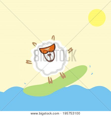 Lamb in sunglasses on a surfboard in the sea. Active summertime.