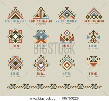 Tribal native pattern set. Geometric shapes, native american or indians symbols, traditional ornament. Flat style vector logo. Seamless ornamental brush