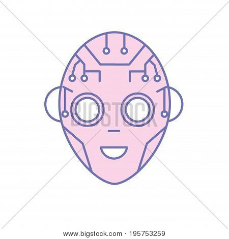 head in interface and cyberspace system connection vector illustration