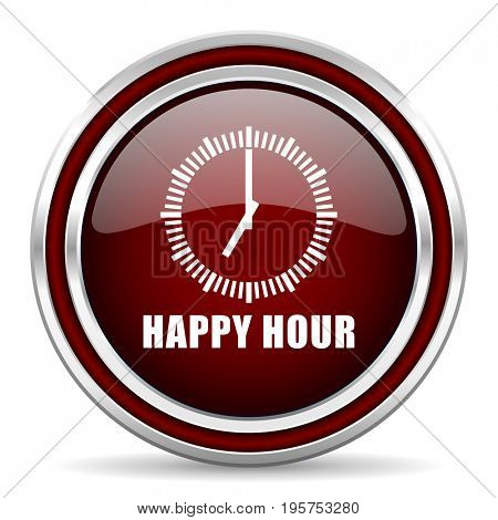 Happy hour red glossy icon. Chrome border round web button. Silver metallic pushbutton.