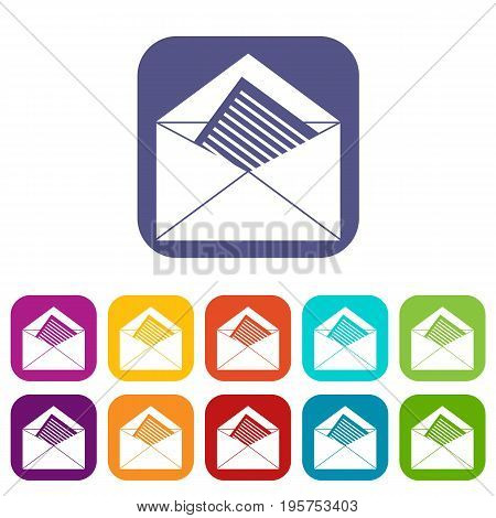 Open envelope with sheet of paper icons set vector illustration in flat style In colors red, blue, green and other