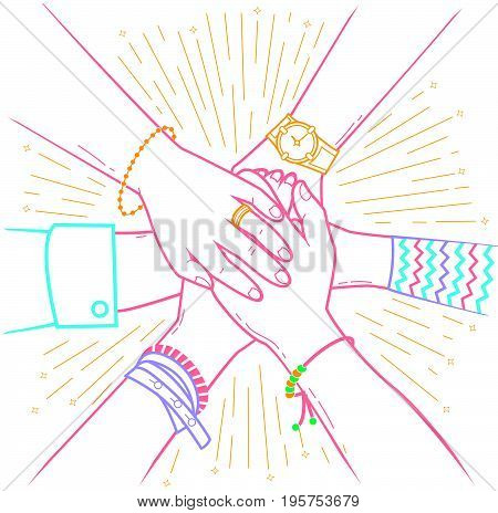 Concept of a successfully concluded transaction in the form of people making pile of hands Icon in the linear style poster
