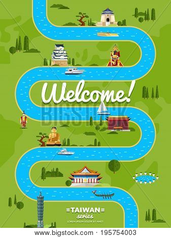 Welcome to Taiwan poster with famous attractions along winding river vector illustration. Travel design with asian statue, ancient temple and monument. Worldwide traveling, time to travel concept