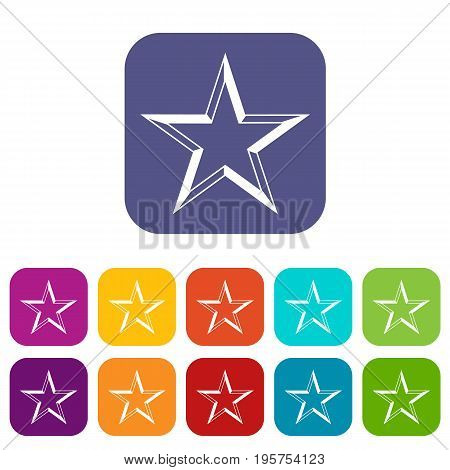 Star icons set vector illustration in flat style In colors red, blue, green and other