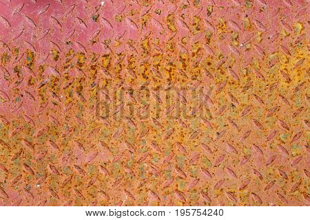Red Painted And Rusty Textured Metal Sheet. Abstract Background