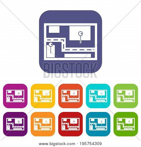 Navigator icons set vector illustration in flat style In colors red, blue, green and other