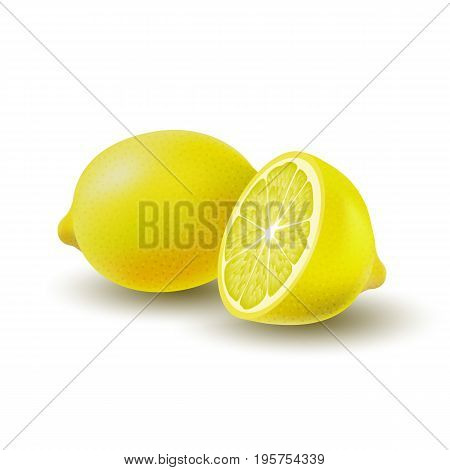 Isolated colored group of lemons half and whole juicy fruit with shadow on white background. Realistic citrus