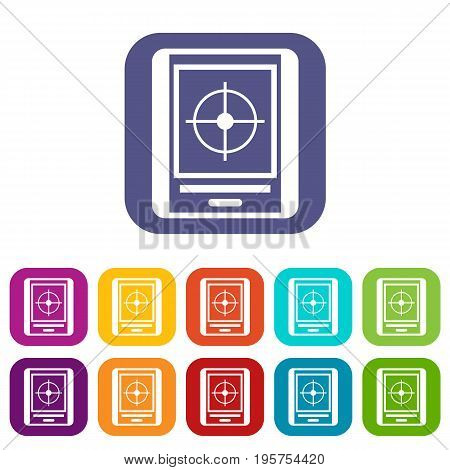 Radar icons set vector illustration in flat style In colors red, blue, green and other