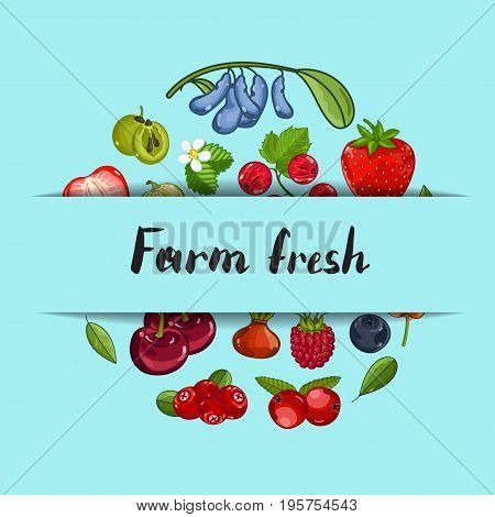Farm fresh berry banner vector illustration. Juicy organic raspberry, blackberry, strawberry, gooseberry, currant. Natural fruit poster, healthy sweet diet, vegetarian nutrition promo, organic farming