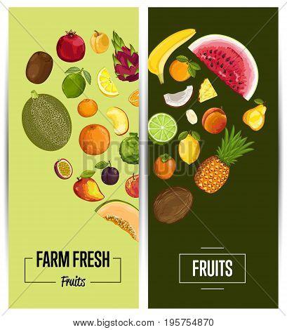 Farm fresh fruit flyers vector illustration. Natural product, juicy fruit, vegetarian delicious nutrition, organic healthy food. Pear, melon, avocado, banana, peach, lemon, watermelon, pomegranate
