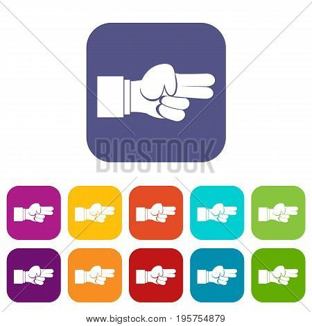 Hand showing two fingers icons set vector illustration in flat style In colors red, blue, green and other