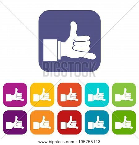 Call me gesture icons set vector illustration in flat style In colors red, blue, green and other
