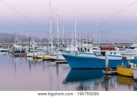 Pillar Point Harbor Dusk. Half Moon Bay, San Mateo County, California, USA.