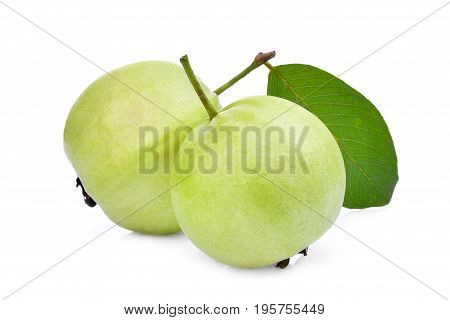 two whole guava fruit with green leaf isolated on white background