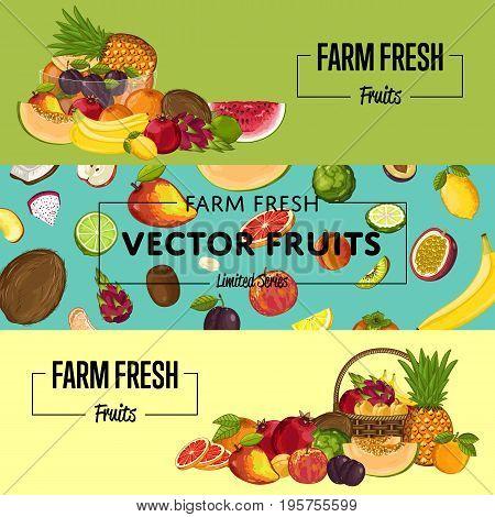 Farm fresh fruit flyers vector illustration. Natural sweet product, juicy fruit advertising, vegetarian nutrition, organic healthy food. Pear, melon, avocado, banana, peach, lemon, watermelon, plum