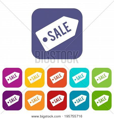 Sale icons set vector illustration in flat style In colors red, blue, green and other