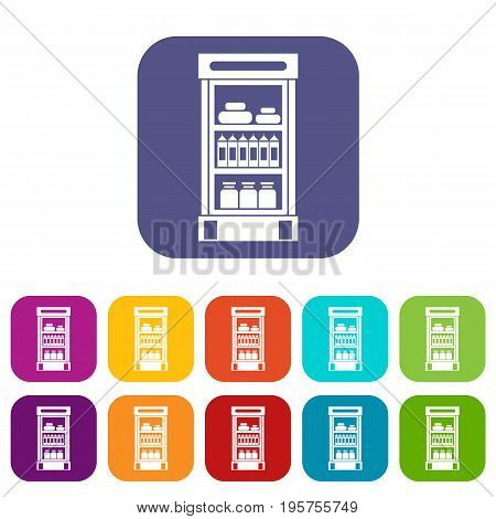 Products in the supermarket refrigerator icons set vector illustration in flat style In colors red, blue, green and other